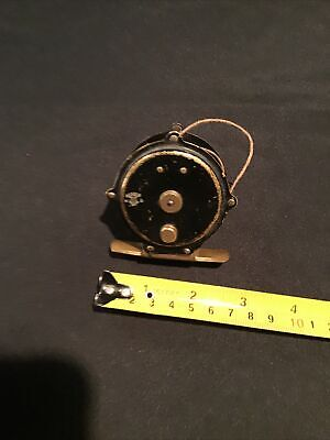 VINTAGE BRASS FRENCH FERAY MAKER MARKED FISHING REEL WITH RATCHET. ST ETIENNE.