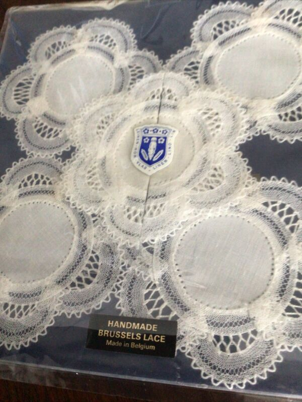 Antique 5~Hand Made Linen Lace Doilies~BELGIUM, UNUSED, TAG.