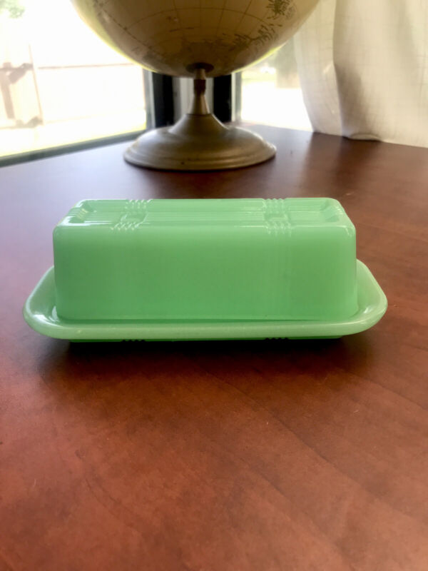 Country Style Green glass butter dish