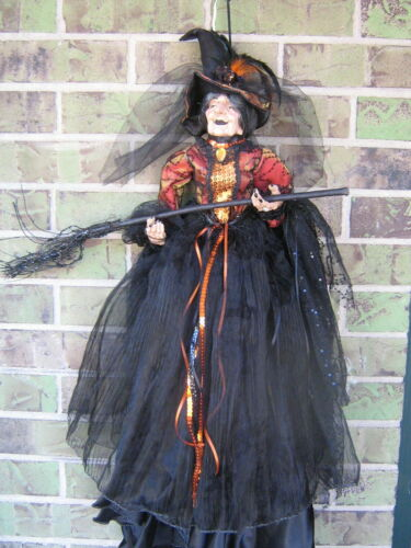 """FLYING HALLOWEEN WITCH DOLL DECOR BROOM JEWELS 28"""" VICTORIAN STYLE RING TULLE SE"""