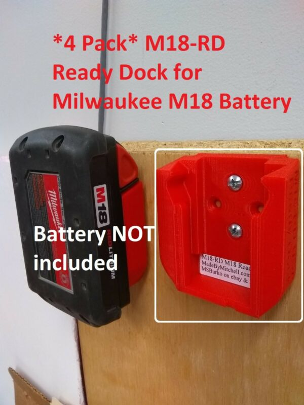 M18 Ready Dock Cover for Milwaukee 18V Battery Mount Store 4-pack  M18-RDx4