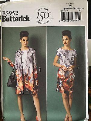 Butterick pattern 5952 Misses dress, jacket and belt Size 16-24 Uncut