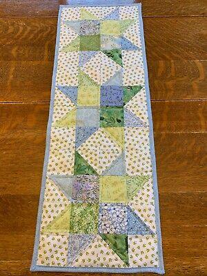 Spring  Summer Blue Green White Quilted Table Runner Handmade