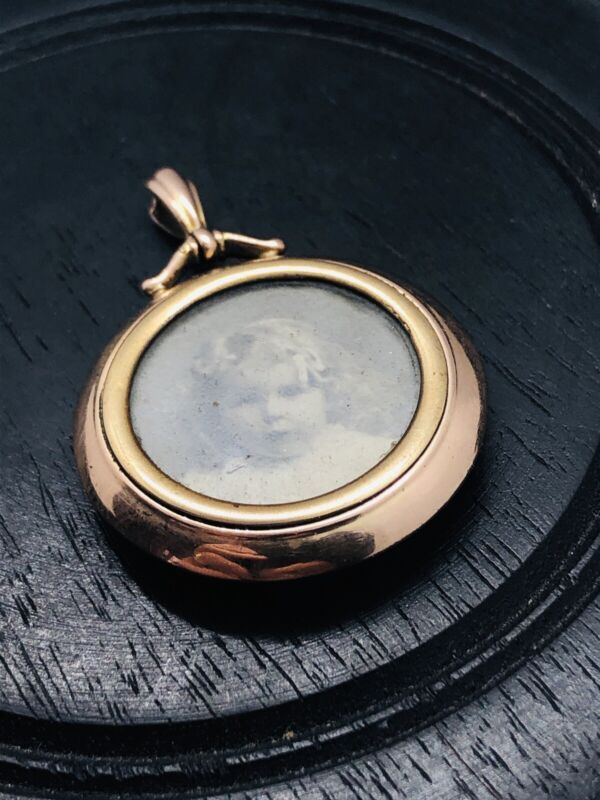 ANTIQUE EDWARDIAN ROSE GOLD MOURNING LOCKET / PENDANT RARE COLLECTABLE 1900S