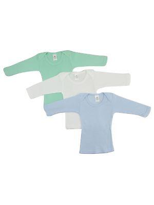 Bambini Baby Boy's White, Blue, Aqua Rib Knit Long Sleeve Lap T-Shirt 3-Pack ()