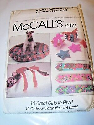 CRAFTS UNCUT MCCALLS 0012 Sewing Pattern GIFTS TO MAKE & GIVE DOG BED TIE APRON