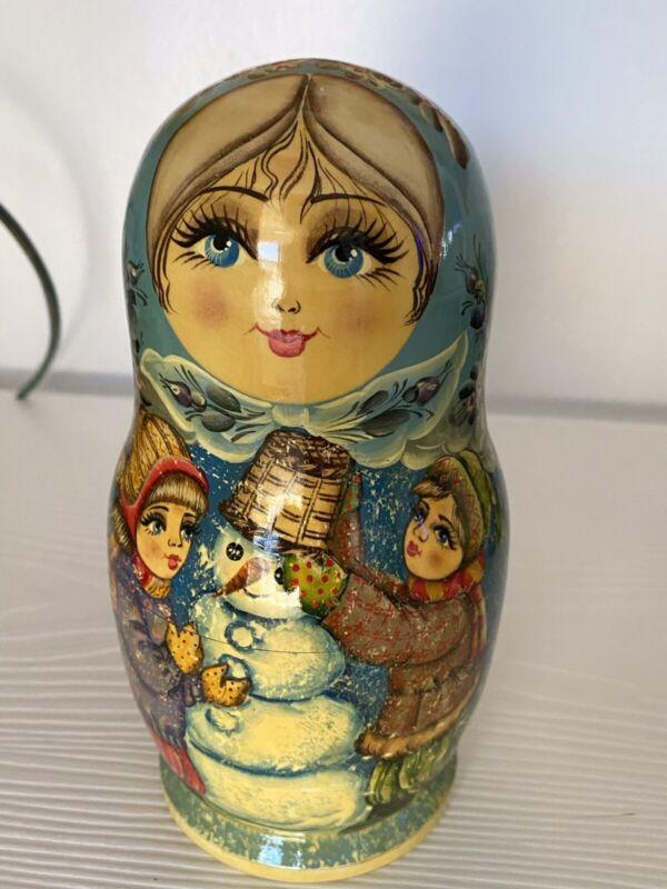 Russian Matryoshka Nesting Doll Children Building Snowman Signed By Artist