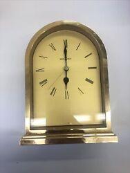 "ANTIQUE HOWARD MILLER CARRIAGE DESK ALARM CLOCK AA BATTERY,1"" GOLD"