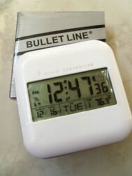 BULLET LINE RADIO CONTROLLED DIGITAL WHITE CLOCK ALARM THERMOMETER DATE RELIABLE