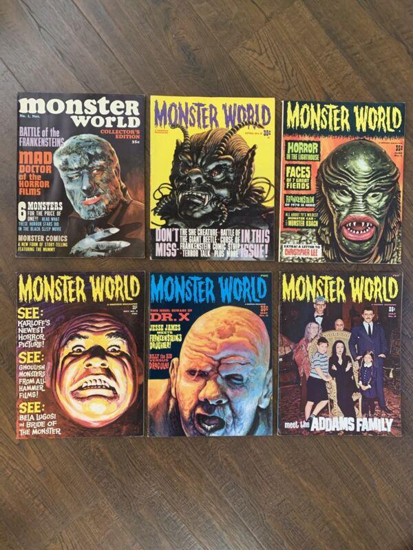 1966 MONSTER WORLD #1,3,4,5,8,9 Lot ADAMS FAMILY, WEREWOLF,CREATURE VF-