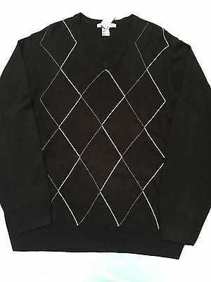 Men's XL/XG Geoffrey Beene V-Neck Sweater Long Sleeves Dark Brown