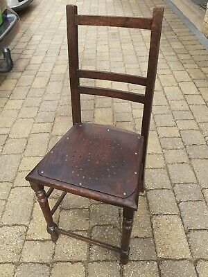 Antique small wooden chair darkwood vintage child's seat wood
