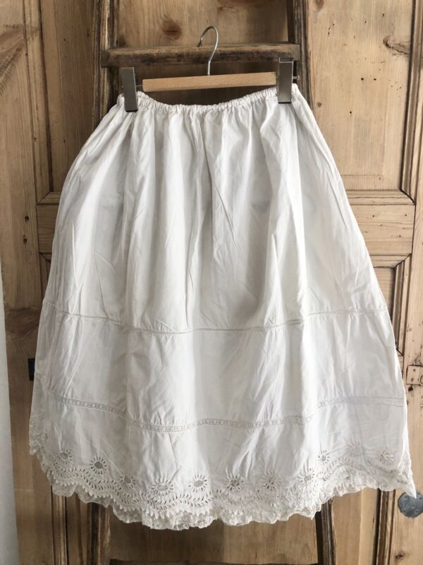 Antique french cotton PETTICOAT OPENWORKS LACE TULLE c 1900