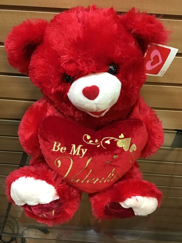 "2017 VALENTINE TEDDY BEAR RED PLUSH HEART PILLOW SAYS ""BE MY VALENTINE 18"" NEW"