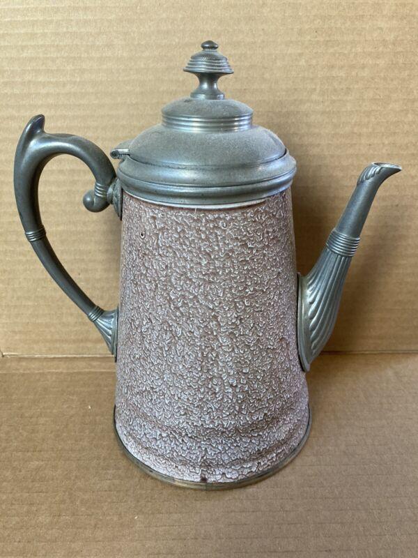 Unusual antique granite ware coffee pot19th c