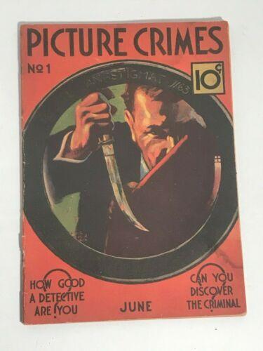 Picture Crimes #1 Ace True Crime Magazine 1937 SCARCE GD-