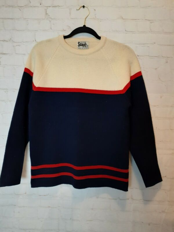 Vintage Color Block Striped 100% Wool Knit Pullover Sweater
