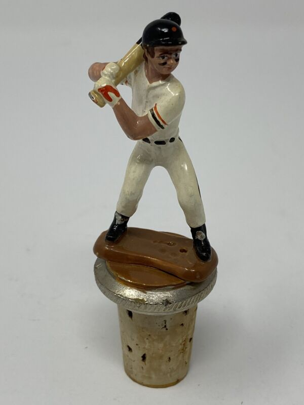 Vintage Heavy Pewter Hand Painted Baseball Player Wine Stopper Cork