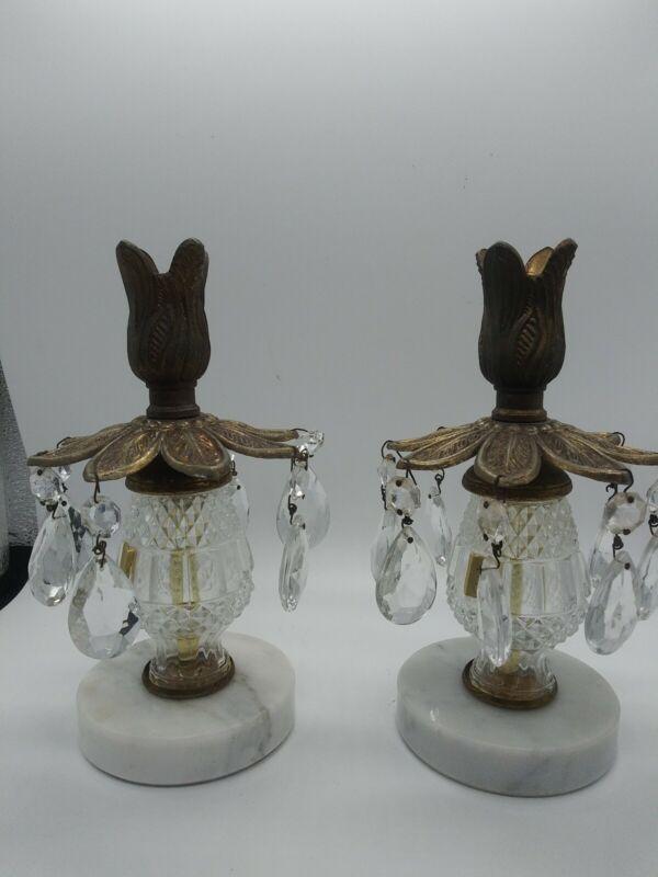 2 Cast Brass Candlesticks Marble base crystal prism drops Candle holder Vintage