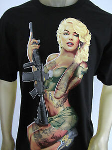 Marilyn Monroe Guns Tattoos AR-15 Camo Marines shirt men's ...