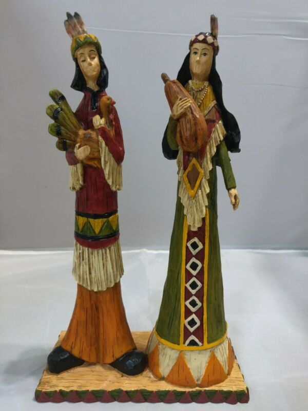 "RARE Thanksgiving Native American Figurines 10.5"" tall"