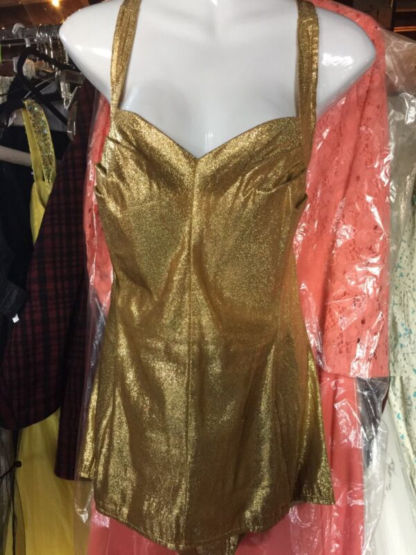 1950's Cole Of Calif Vintage Gold Lame Swimsuit