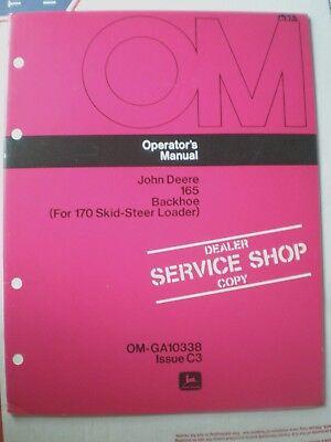 John Deere 165 Backhoe Operators Manual Om-ga10338