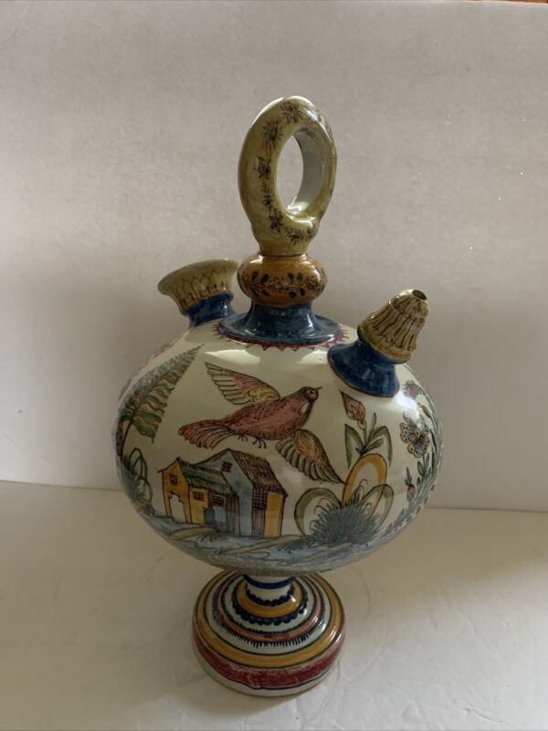 Vintage Majolica Spanish BOTIJO 2 Spouts Hand Painted Ceramic Jug & Decanter 15""