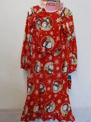 GIRLS 6 RED SNOOPY WOODSTOCK CHRISTMAS WINTER NIGHTGOWN & DOLL PAJAMAS #11060