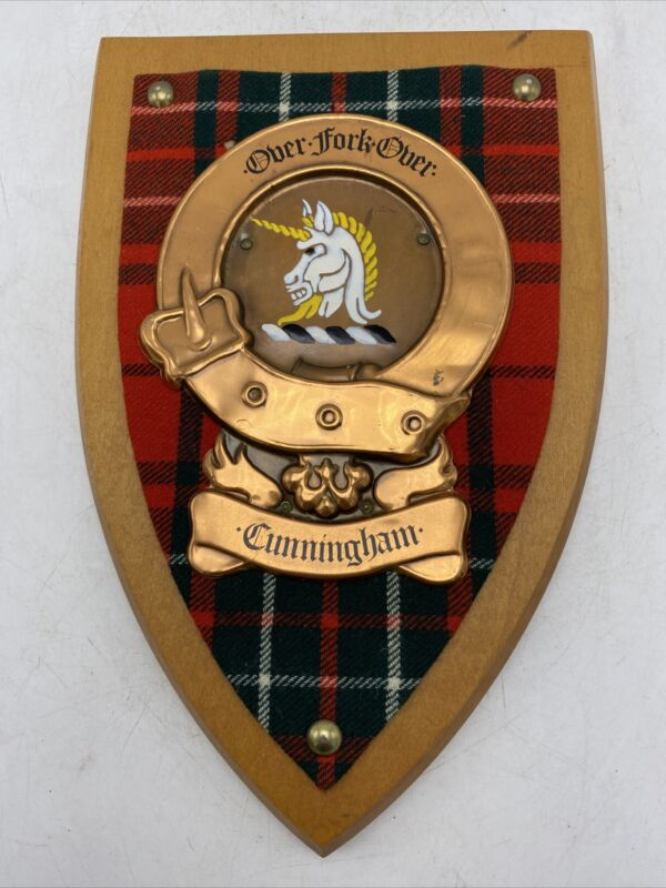 Cunningham Scottish Family Clan Crest Coat  Arms Tartan Copper Wood Wall Plaque