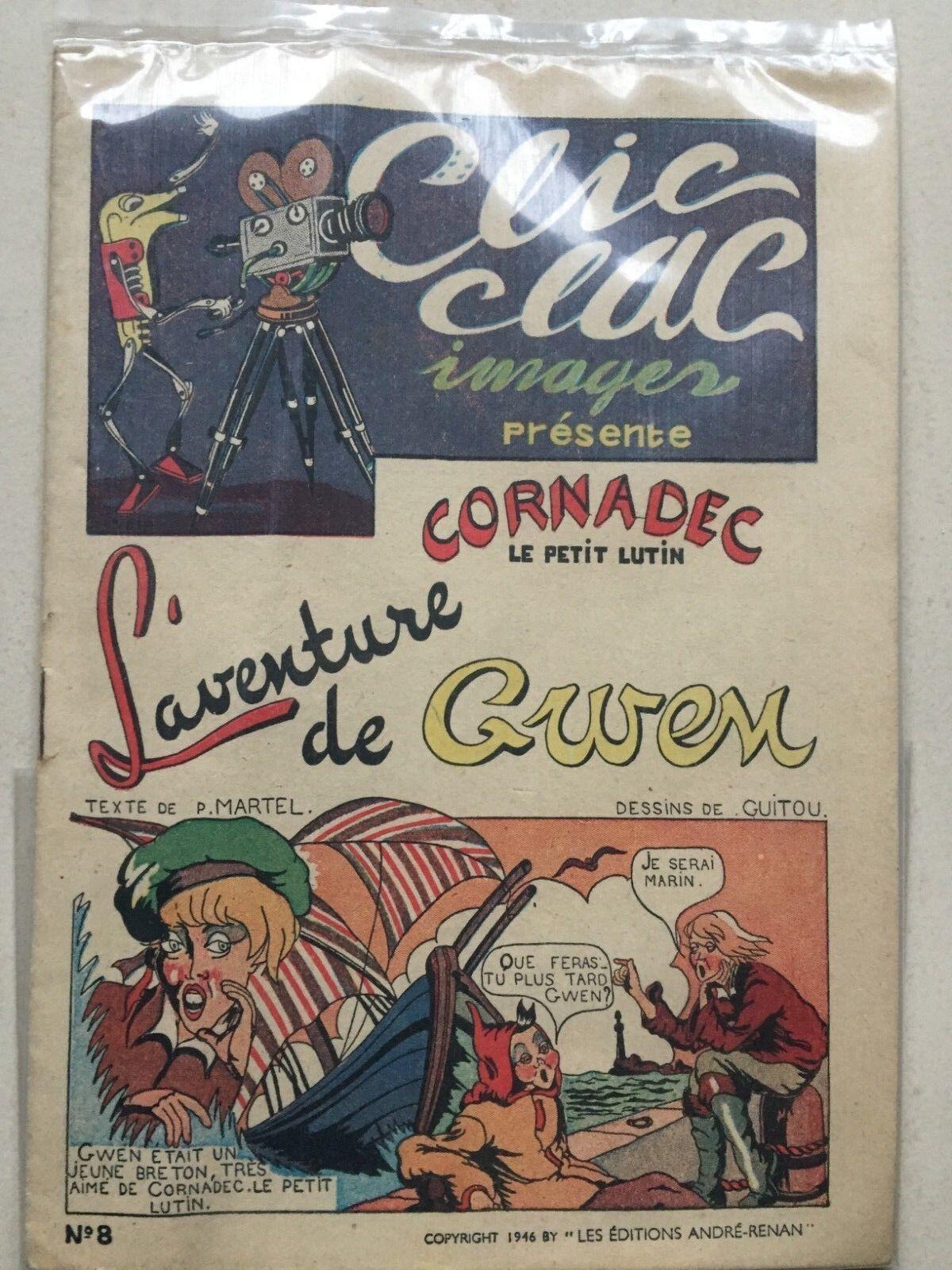 Clic clac images cornadec le petit lutin tres bon etat 1946
