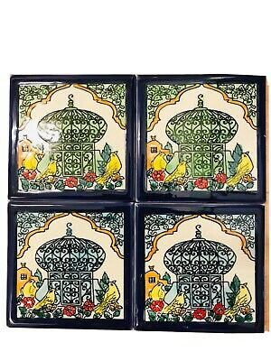 Vintage Tiles / Handpainted Tiles Set Of 4 10cm / Spanich Tiles