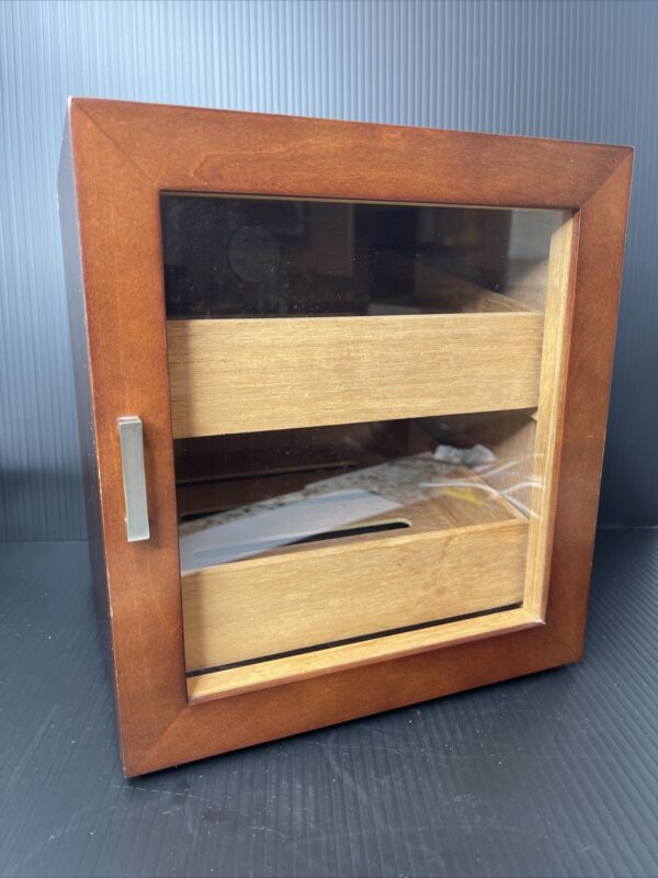Red Envelope Cigar Humidor with Front Glass Door 2 Drawers