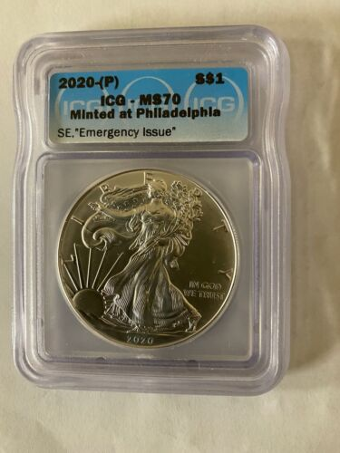 """2020 (P) Silver Eagle ICG MS70 Struck at Philadelphia """"EMERGENCY ISSUE"""""""