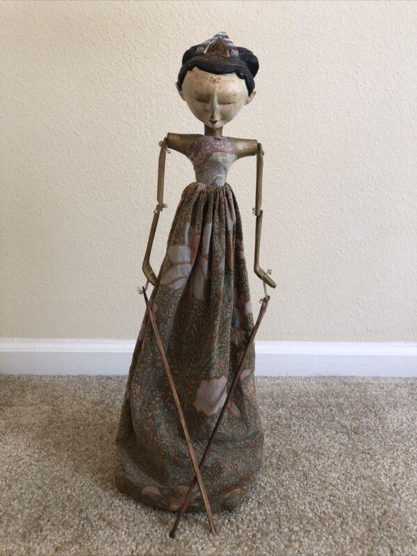 """Old Vintage 21"""" Wayang Golek Wooden Bali Stick Puppet Indonesia Asian Marionette"""