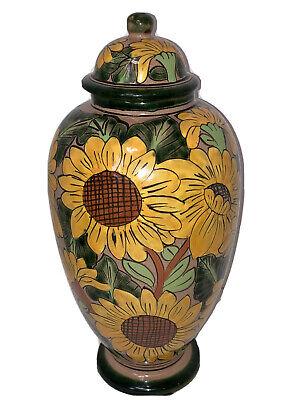 Talavera Castillo Mexico Sunflower 12-1/4 pottery Ginger Jar Signed EUC Talavera Ginger Jar