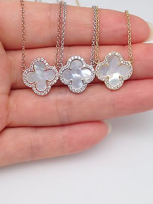 Sterling Silver 925 Cz Mother Of Pearl Four Leaf Clover Pendant Necklace (Silver Four Leaf)