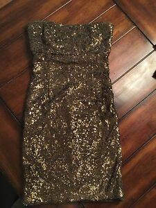 Alice+Olivia Gold Sequin Party Dress