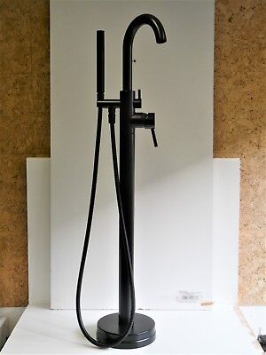 Grifo de Bañera Negro Mate, Batidora de Pedestal, Separado, Pila de Bañera