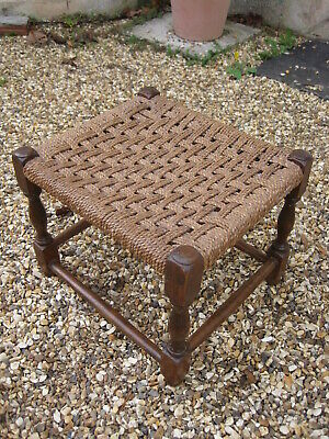 Vintage Mid Century Woven String Topped Small Wooden Stool Retro