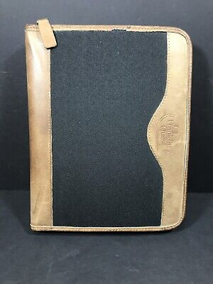 Franklin Quest Classic Binder Black Nylon Brown Leather 7 Ring