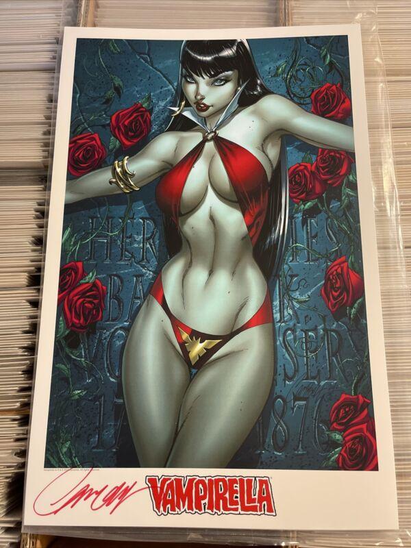 J SCOTT CAMPBELL VAMPIRELLA SIGNED 11x17 2014 ART PRINT sexy bad girl horror art