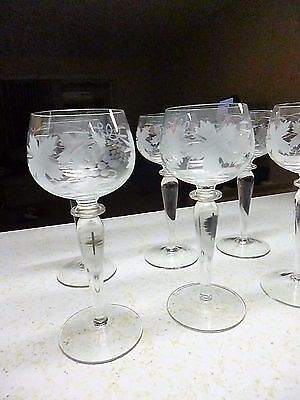 VINTAGE BOHEMIAN CZECH TALL HOCK WINE GLASSES GRAPES LEAVES ETCHED  set 10