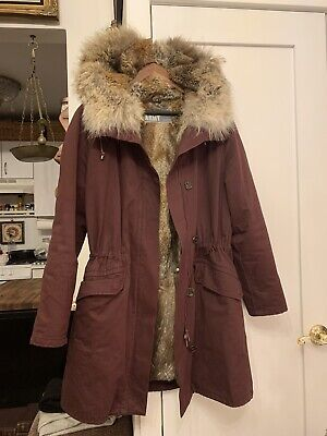 Womens Yves Salomon Real Fur Army Parka Burgundy Size 36 (S)