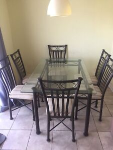6 Person Glass Kitchen Table and Chairs