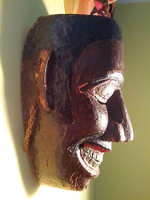 "c1960 Ethnographic Danced Polychrome Sri Lankan Wooden Dance Mask ""Pita Sanniya"""