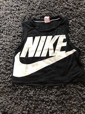 Nike Black cropped tank top sleeveless size xs Gym Running Workout Vest