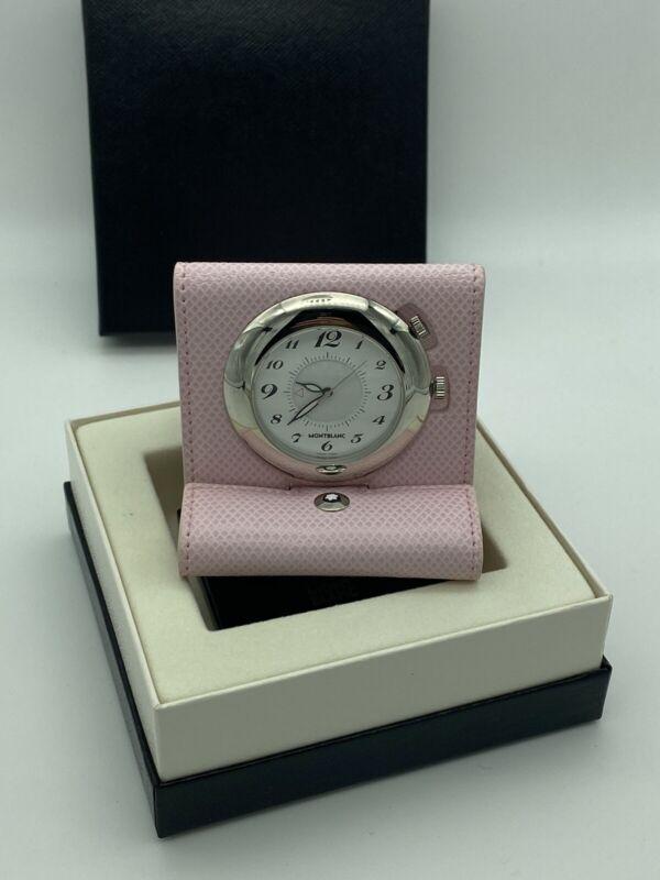 Mont Blanc Timepieces Mini Leather Alarm Quartz Palladium Plated