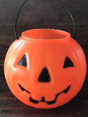 "Vintage Halloween Pumpkin Jack-o-Lantern Blow Mold Candy Pail 6"" JOL"