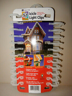 Lites Up Brand - 45 Icicle Light Clips UNUSED on retail card